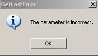 Parameter_incorrect